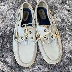 Sperry Topsider's light blue and gold size 9